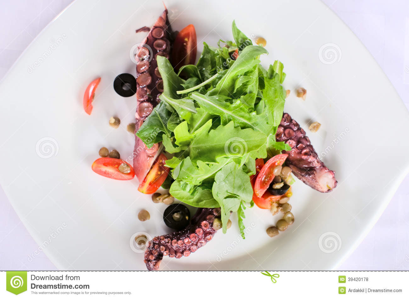 Seafood Salad With A Squid Stock Photo - Image: 39420178
