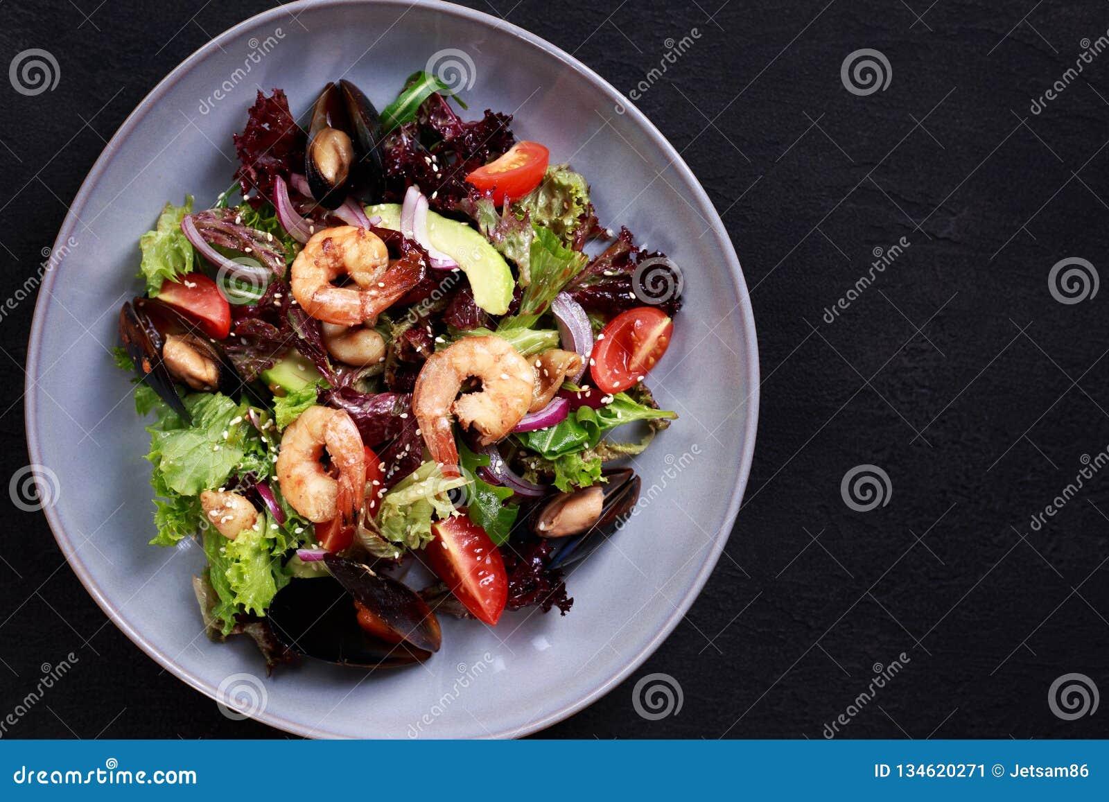 Seafood Salad, Mediterranean Food, Restaurant Menu Stock