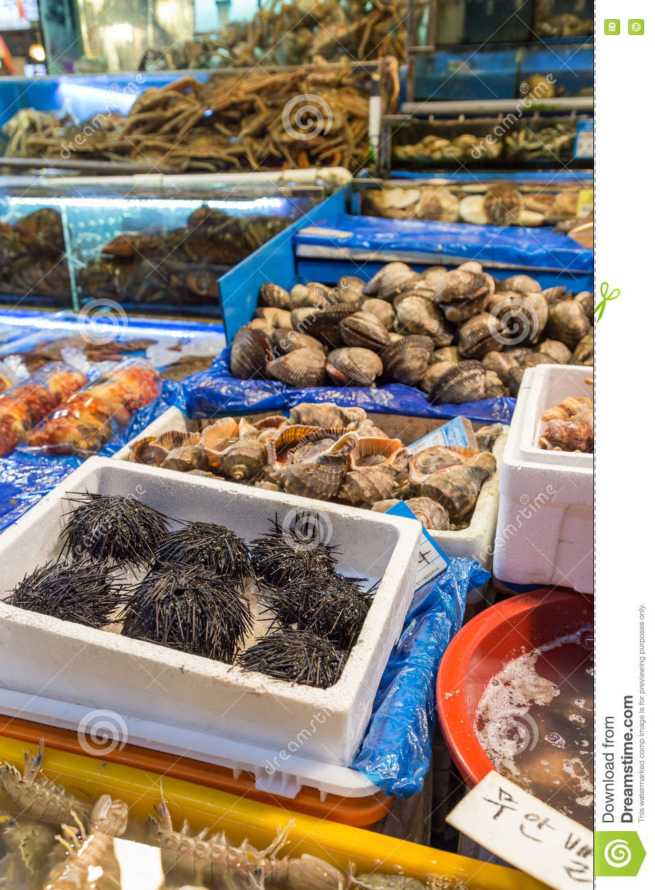 Seafood For Sale At The Noryangjin Fish Market In Seoul Editorial