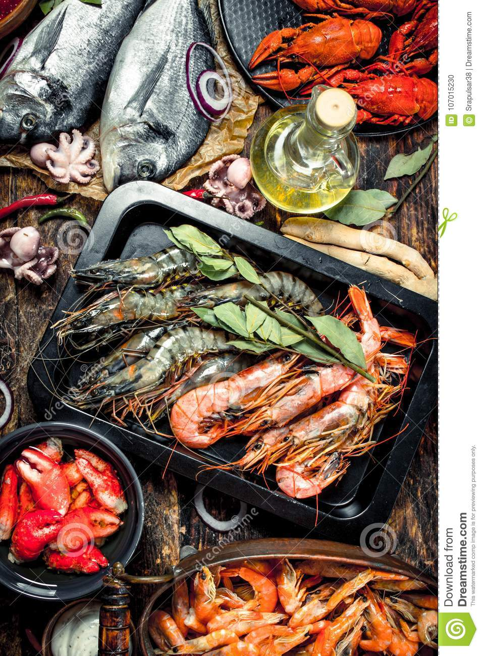Seafood with spices.