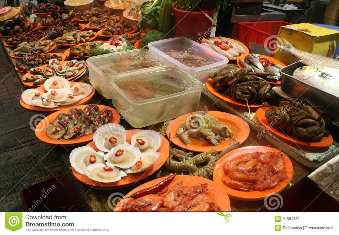 Seafood stand fish market china royalty free stock photos for City fish market menu