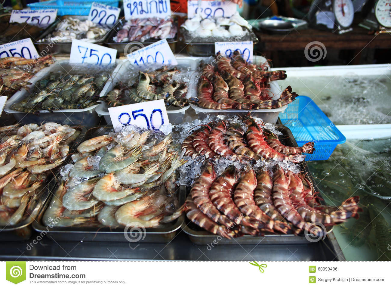 Chinese street seafood market stock image cartoondealer for Oriental fish market