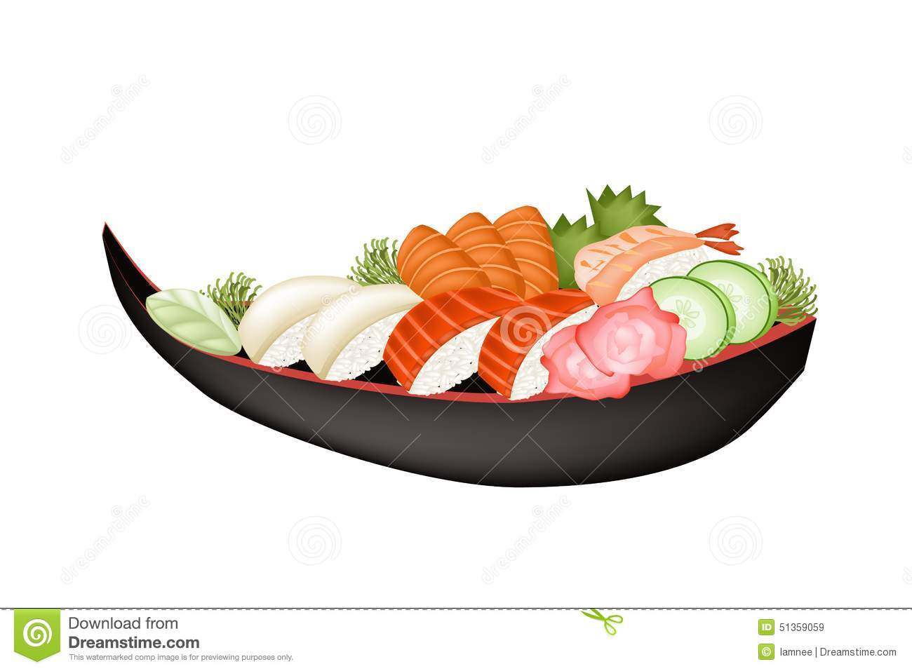 seafood sushi with salmon sashimi and wasabi stock vector Simple Fish Clip Art Fish Fillet Clip Art