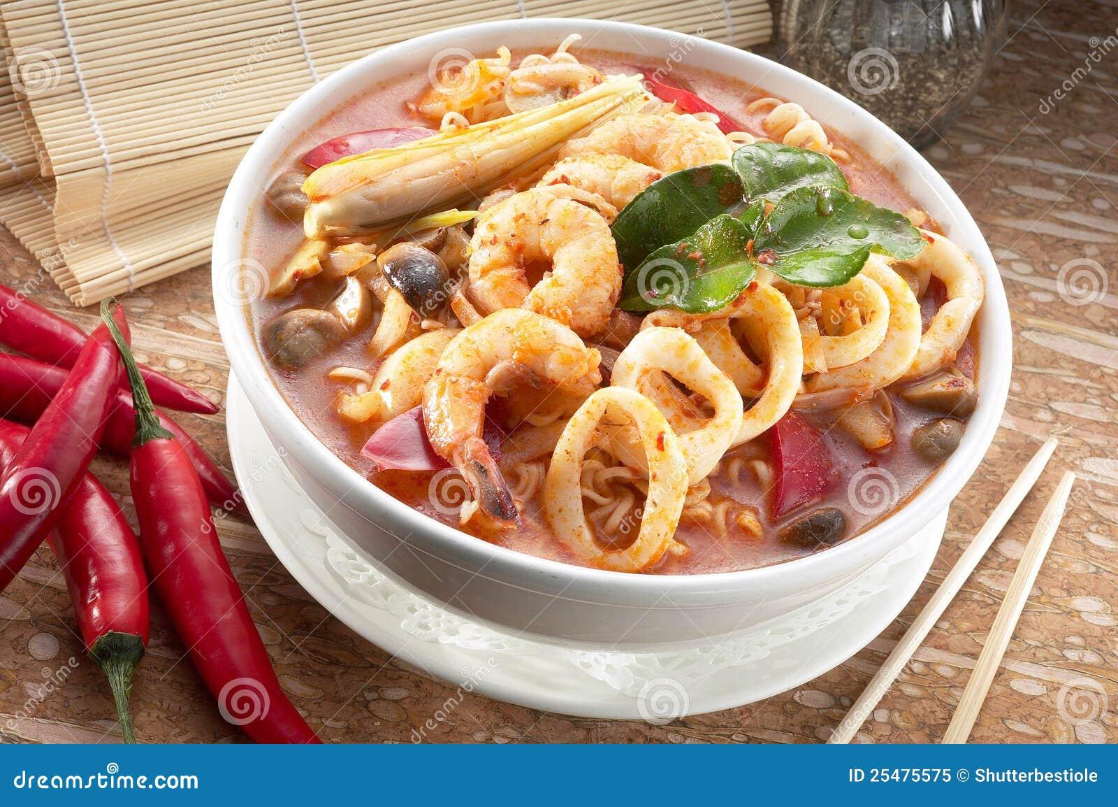 Seafood tomyam noodle soup