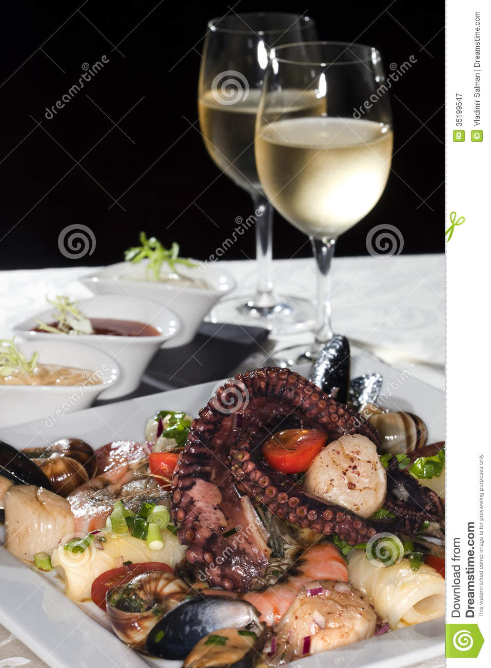 Seafood and white wine stock image. Image of asparagus - 35199547