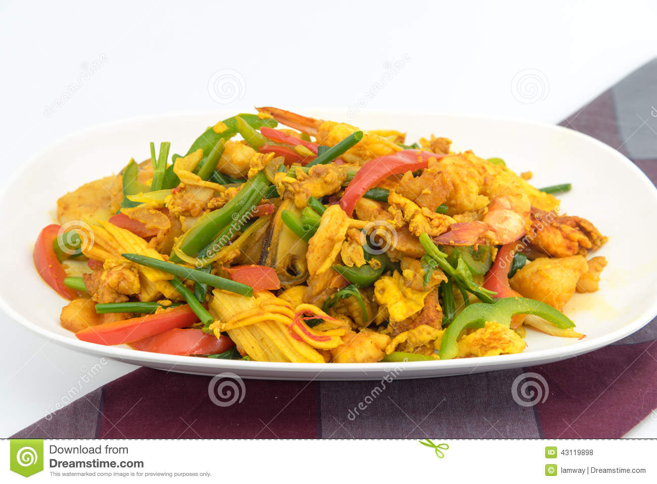 Seafood with yellow curry sauce stock photo image 43119898 for Crab topping for fish