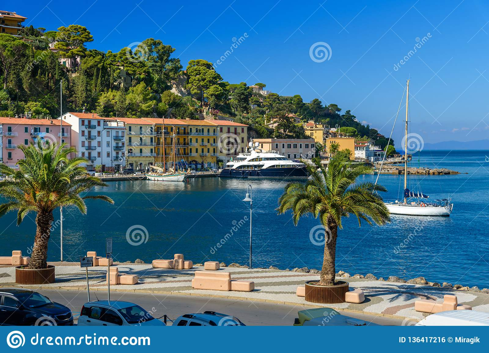 Seafront of seaport town Porto Santo Stefano in Monte Argentario. Tuscany. Italy