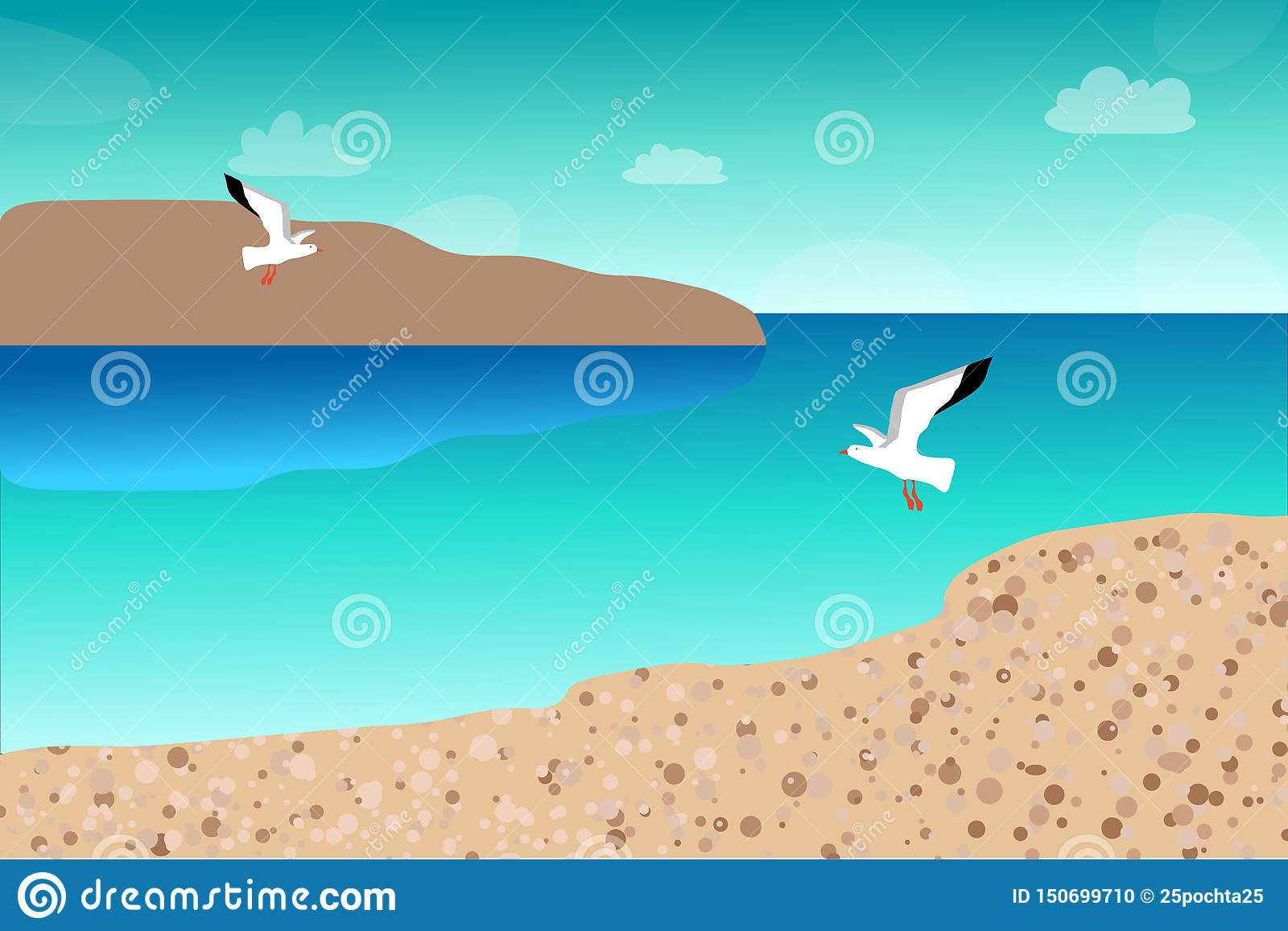 Seagulls lata nad morzem