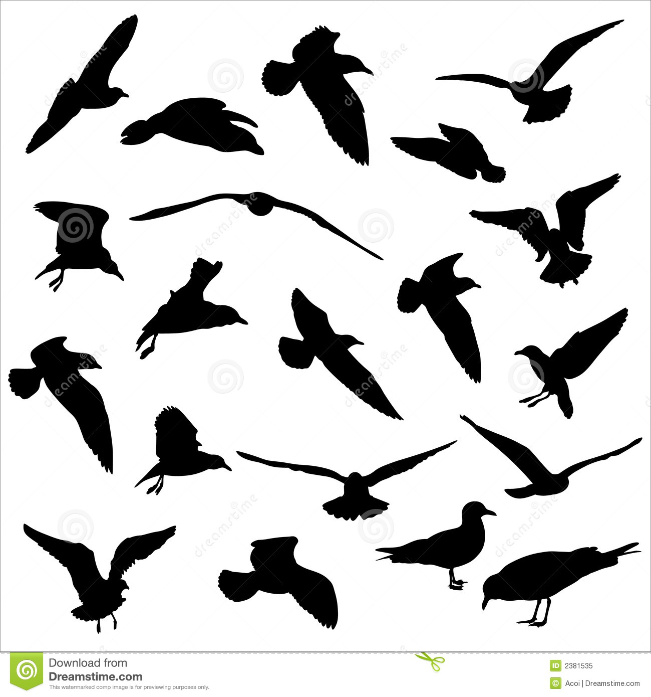Seagulls Silhouettes Royalty Free Stock Photo  Image 2381535