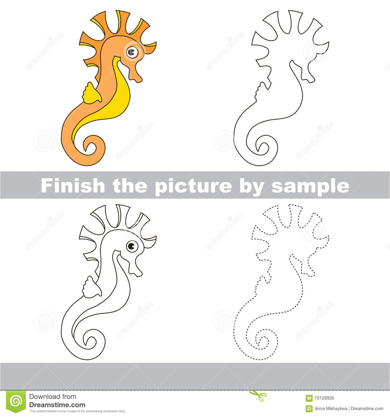seahorse drawing worksheet stock vector image 70129926. Black Bedroom Furniture Sets. Home Design Ideas