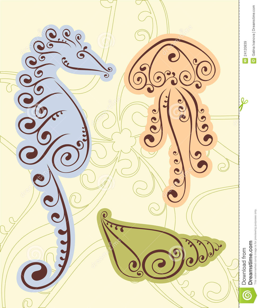 seahorse shell scroll designs stock vector illustration of