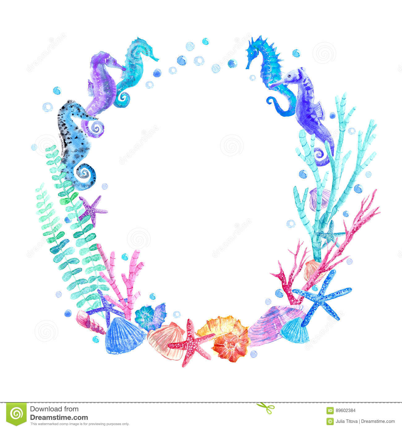 seahorse  shell  starfish  seaweed  coral and bubbles wreath stock illustration illustration seahorse clip art free images seahorse clipart freeware black and white