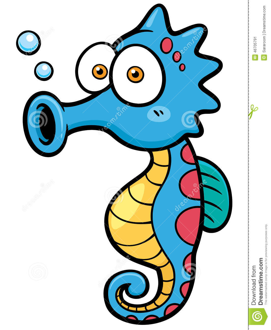 Vector illustration of seahorse cartoon.