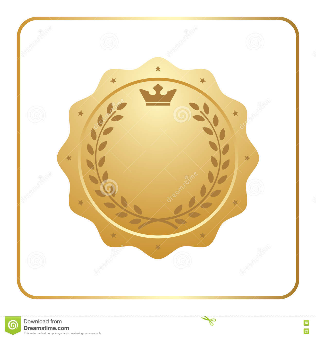 Seal Award Gold Icon Blank Medal Stock Vector Illustration Of Template