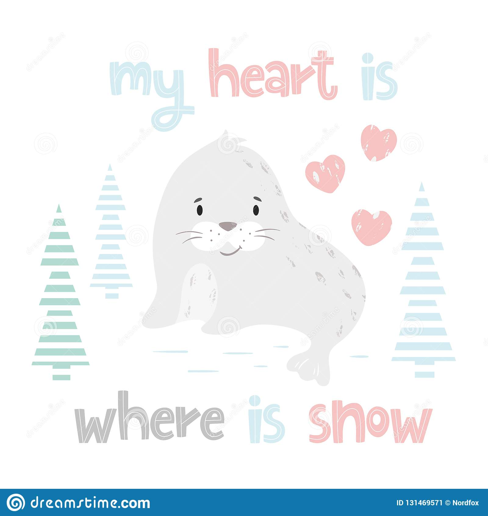 Seal Baby Winter Print  Cute Animal In Snowy Forest Christmas Card