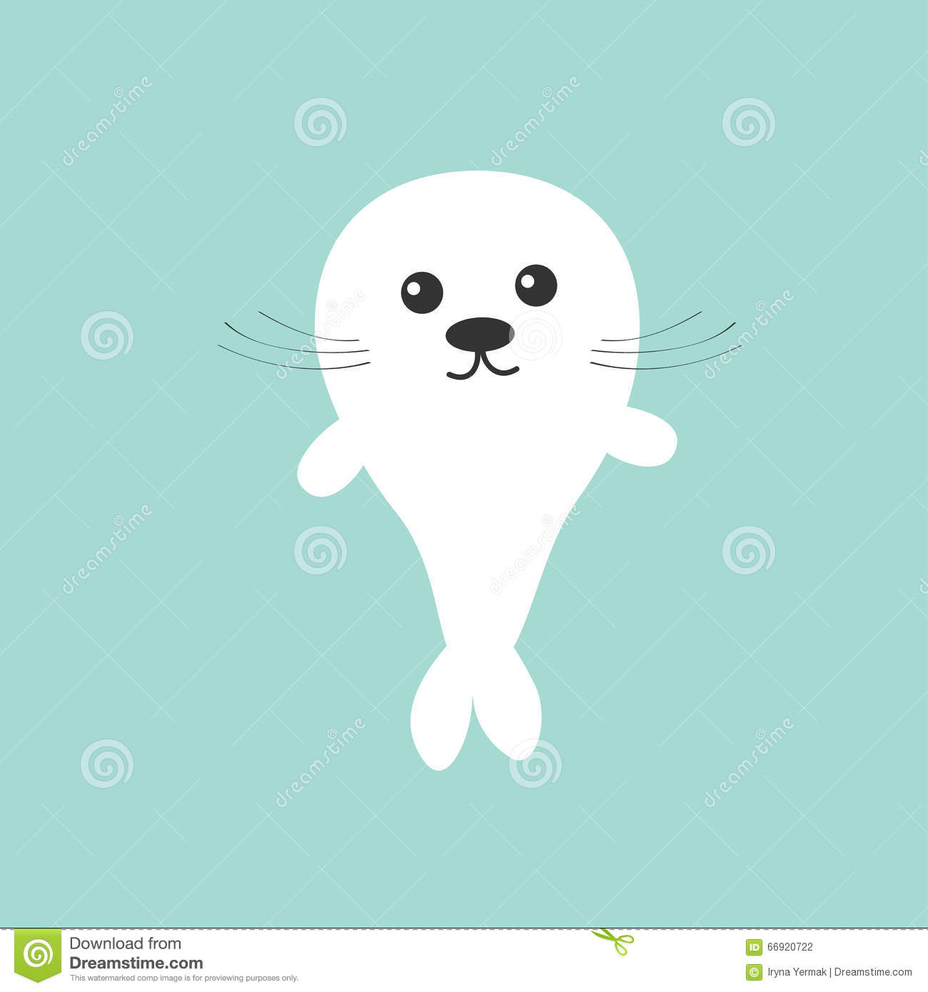 Character Design Background : Seal pup baby harp cute cartoon character blue