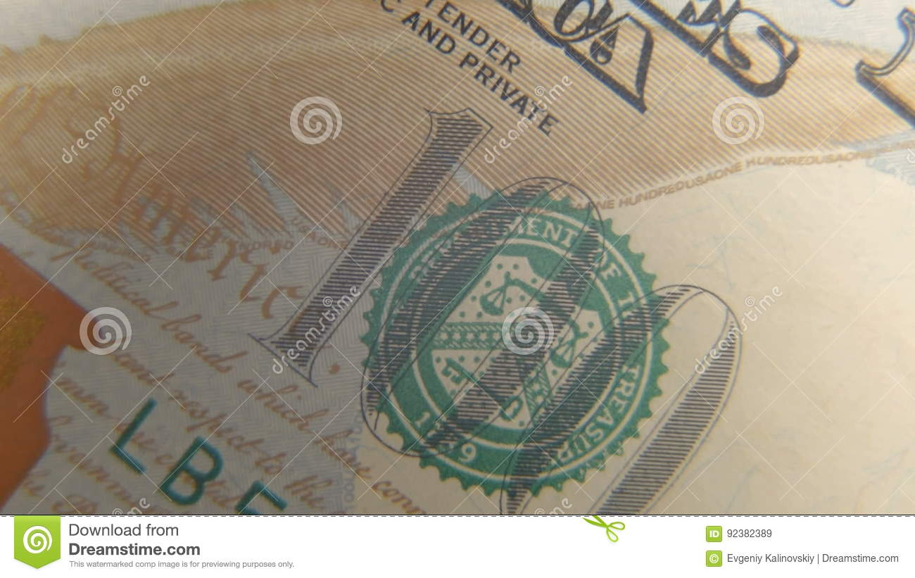 Seal Of The Treasury On A Hundred Dollar Bill Stock Video