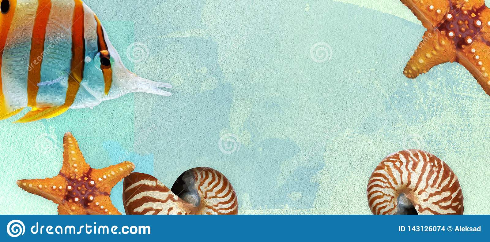 Summer banner with oil paint and watercolor brushes. Seashell, starfish and fish on a marine background with text space.