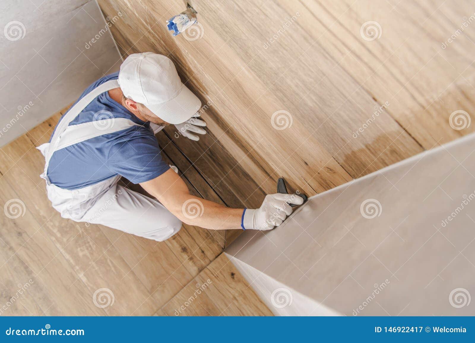 Sealing Finished Ceramic Tiles Stock Image Image Of Tile Wall 146922417