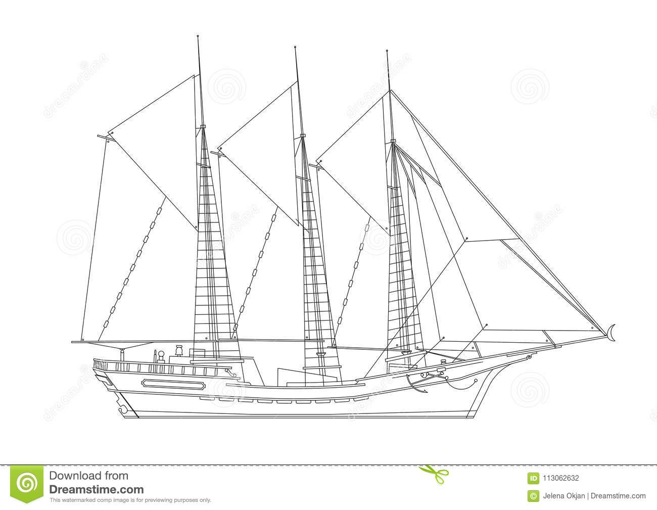 Sealing ship blueprint isolated stock illustration illustration sealing ship blueprint isolated malvernweather Gallery