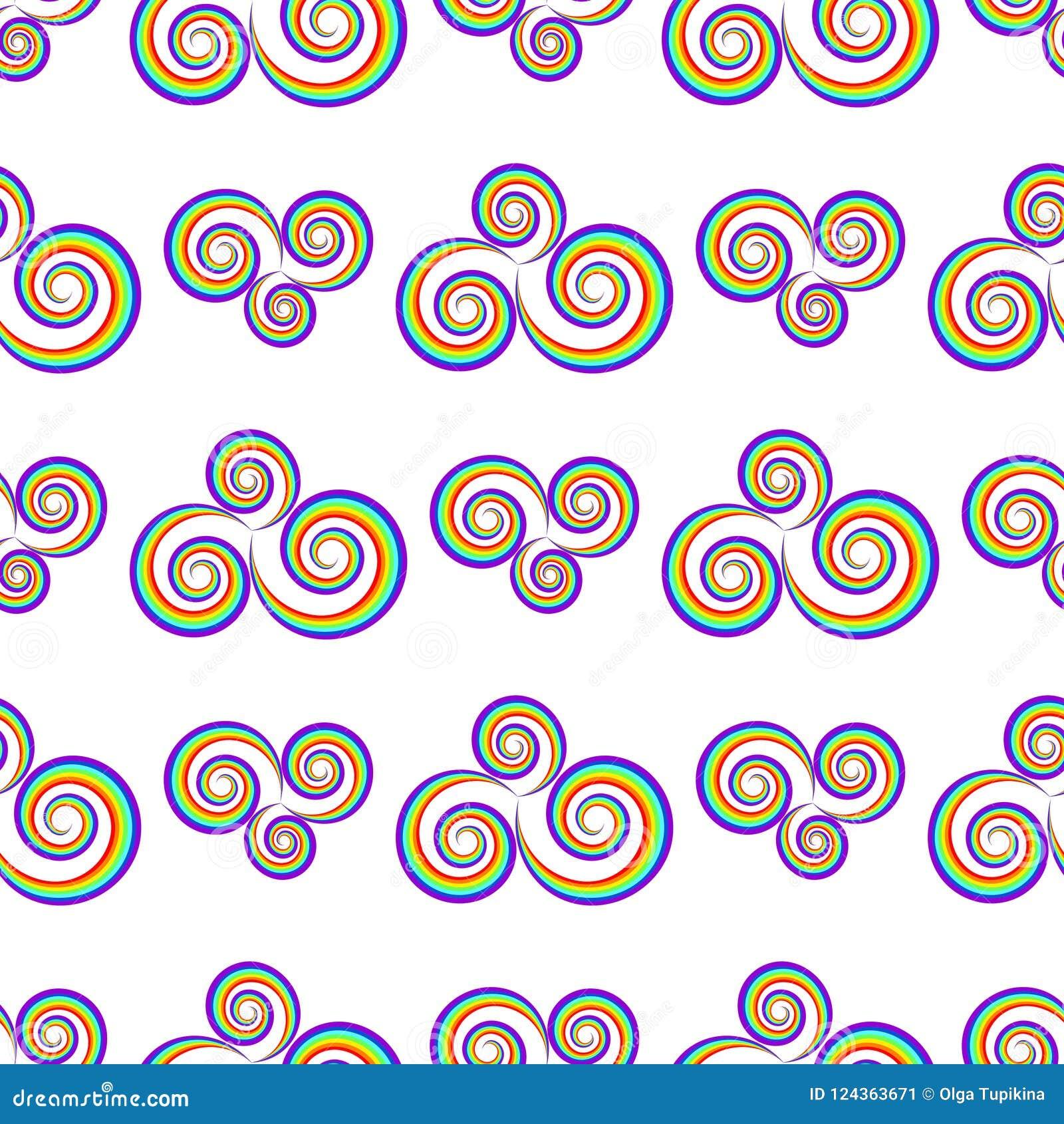 seamlass rainbow psychedelic swirl pattern vector decorative el