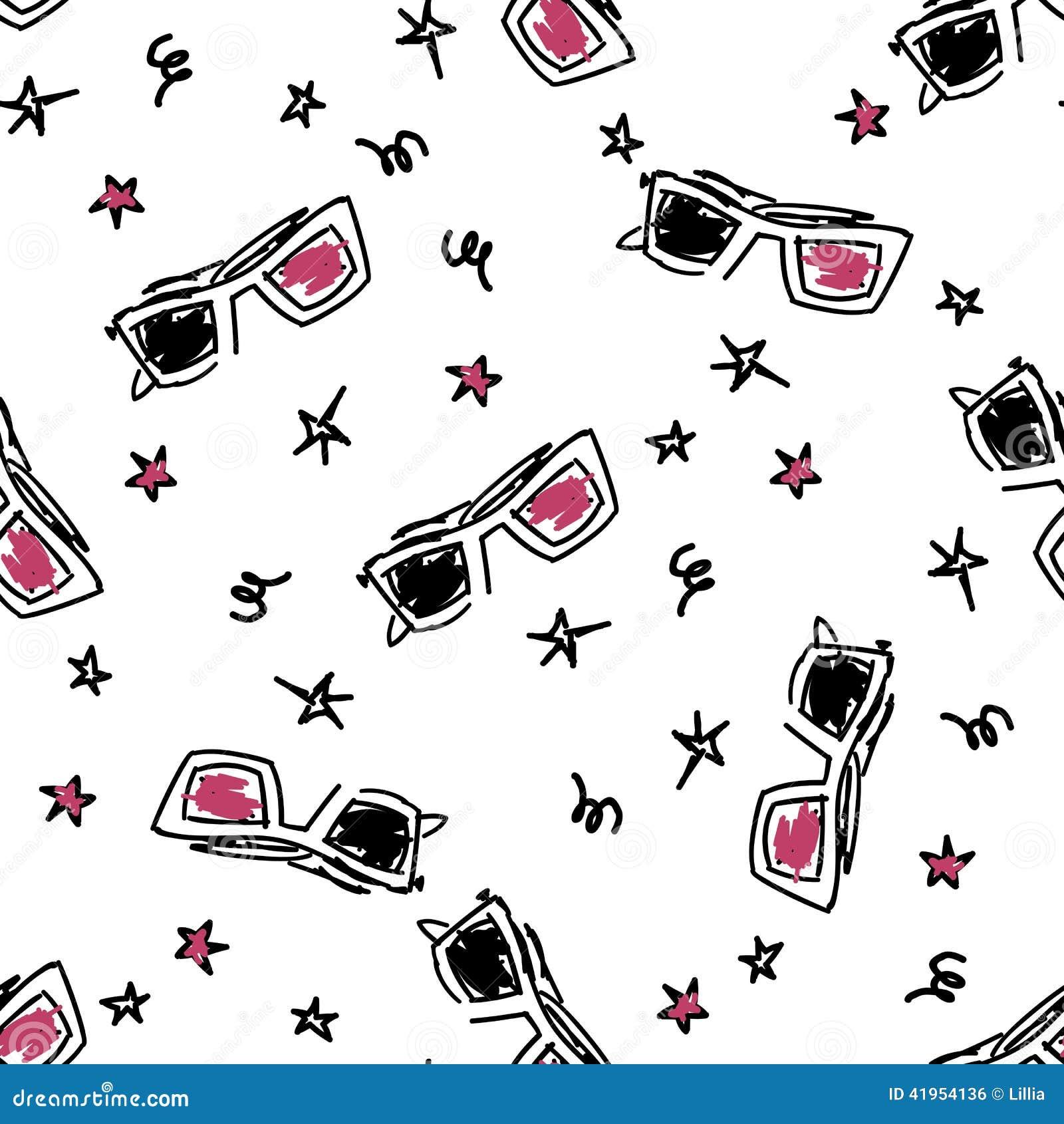 Seamles wzór z doodle 3d szkłami