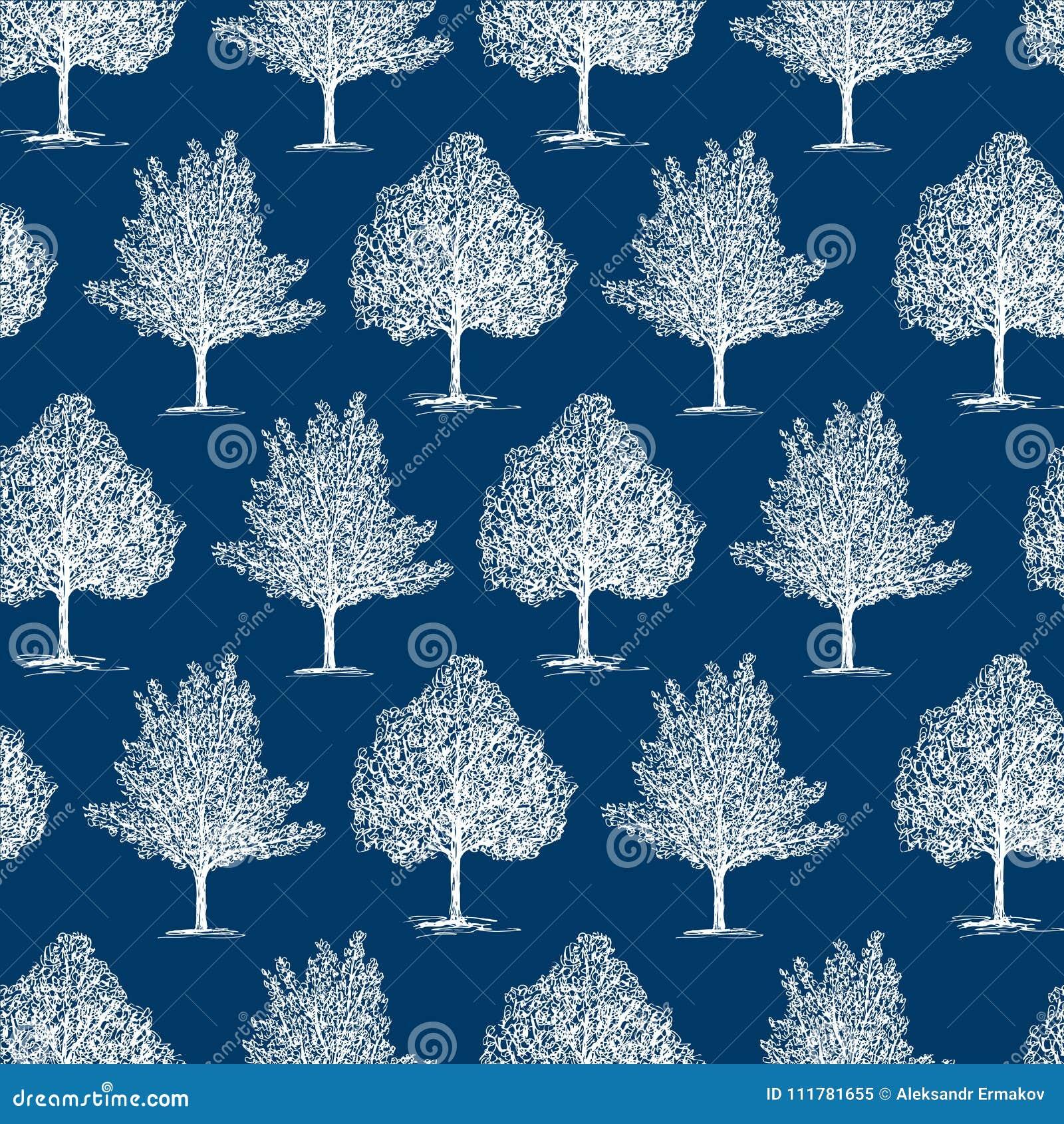 Seamlesachtergrond van de bevroren bomen