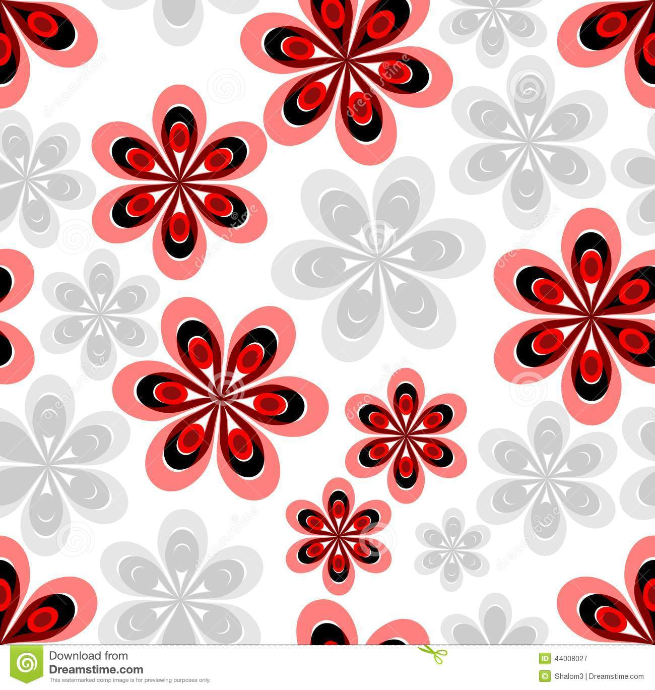 Seamless Abstract Background With Red And Gray Flower Patterns Stock Vector