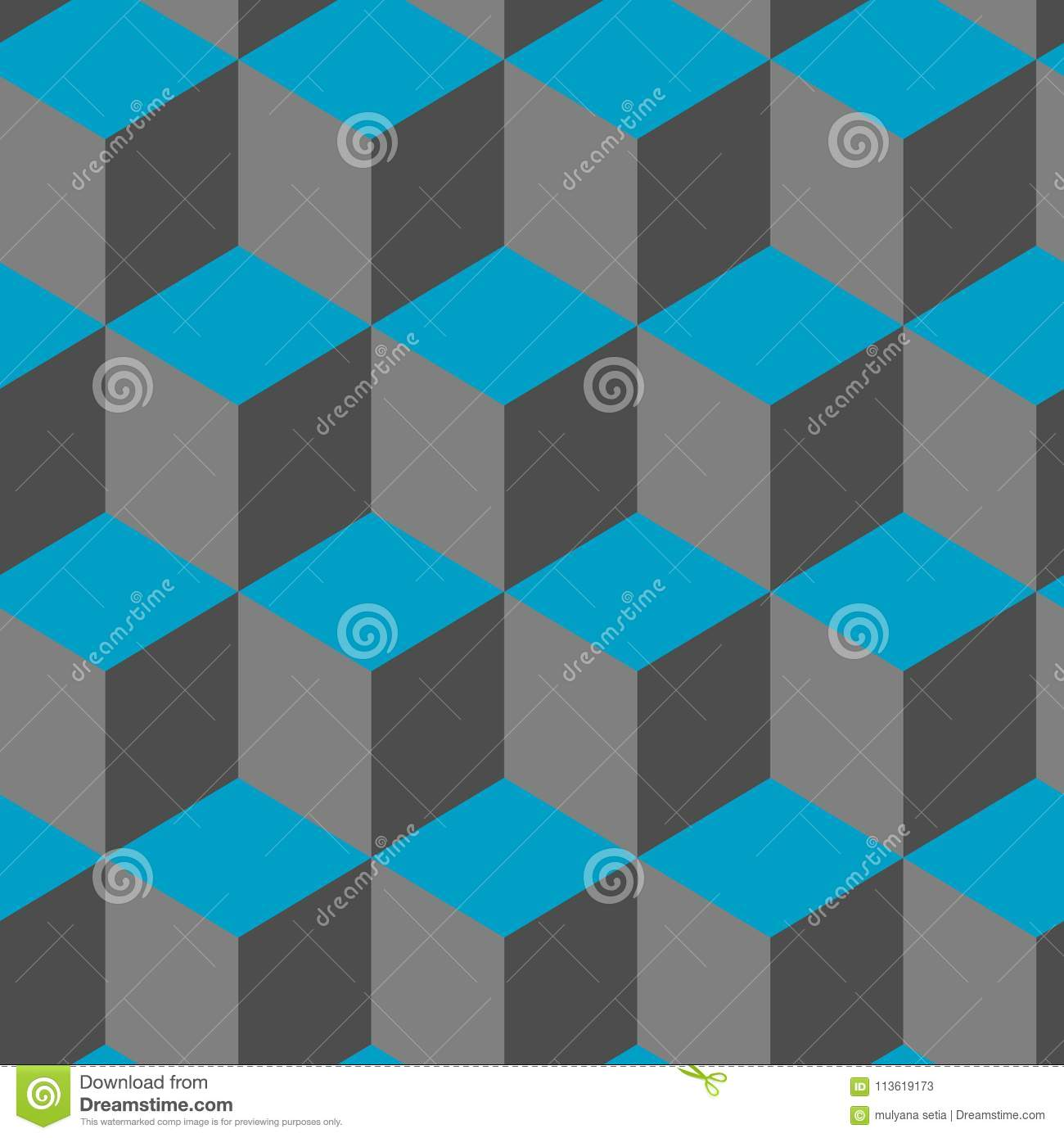 Seamless Abstract Cube Geometric Vector Cool Pattern Stock