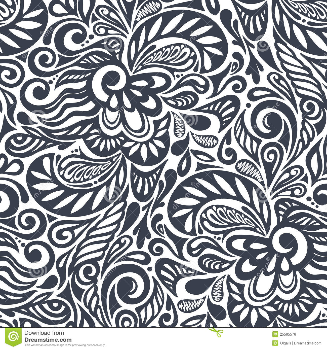 seamless abstract curly floral pattern royalty free stock