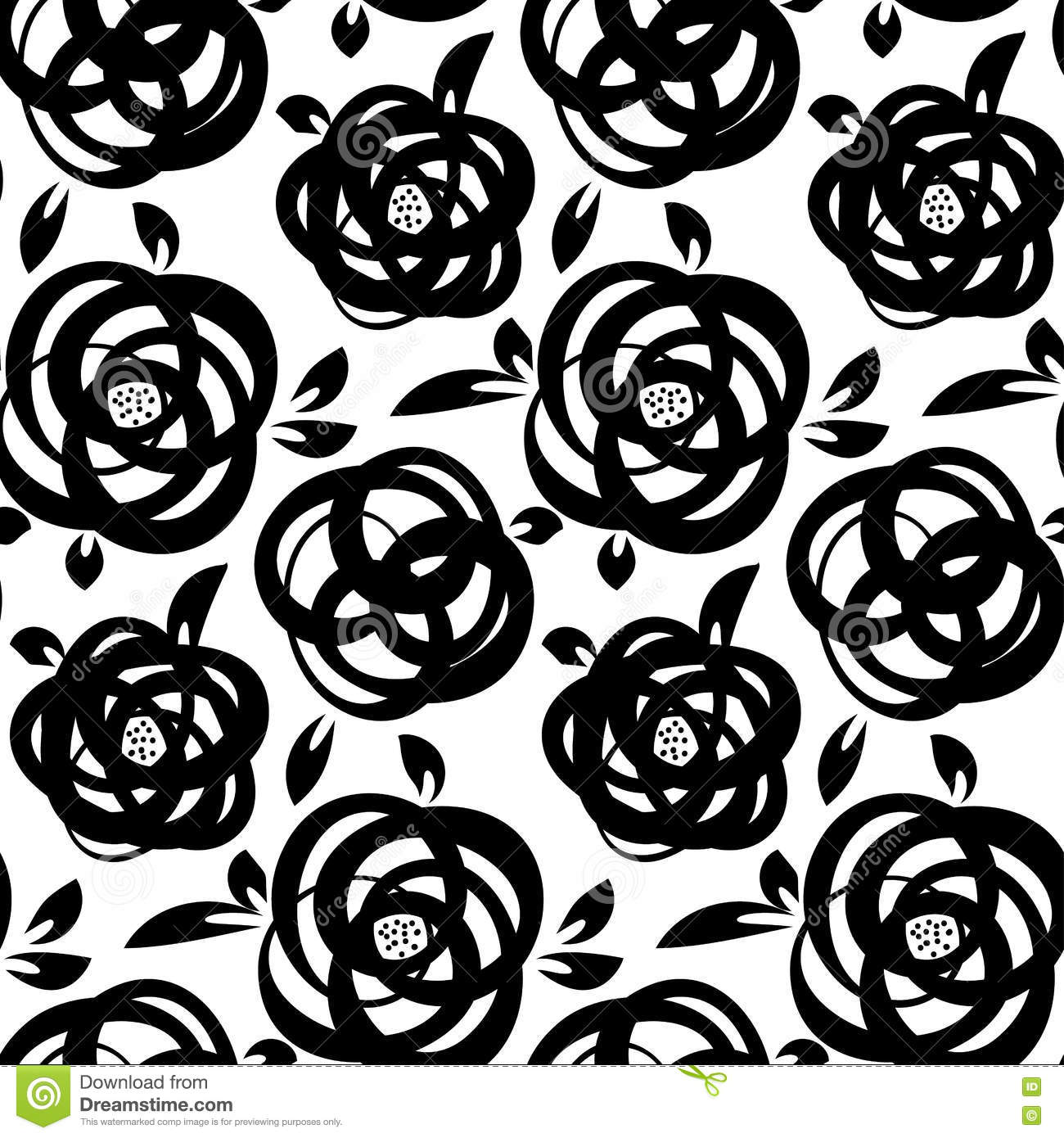 Seamless Abstract Floral Background Black And White Roses Stock