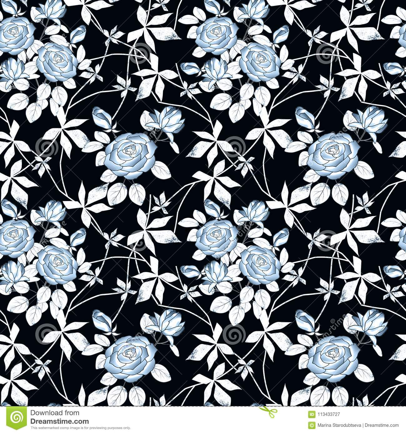 Seamless Abstract Floral Pattern Blue Roses On Black Background