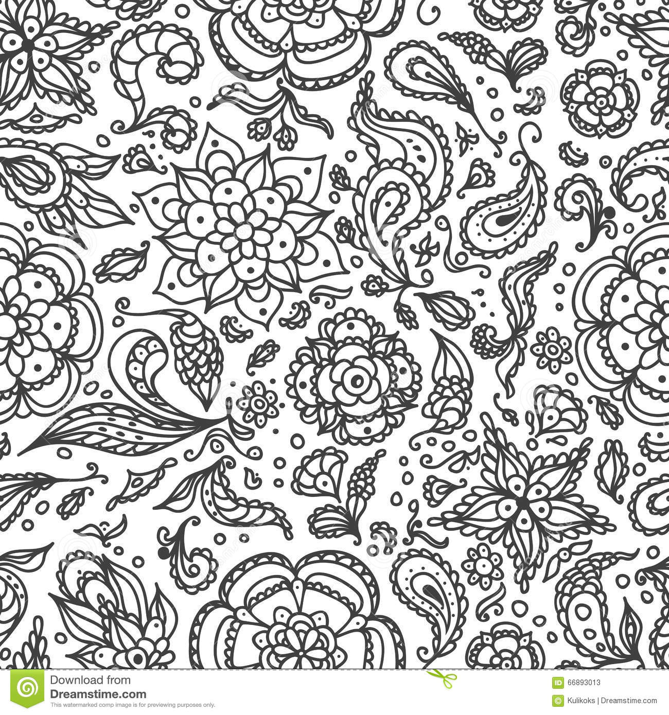 seamless abstract floral pattern with flowers petals leaves