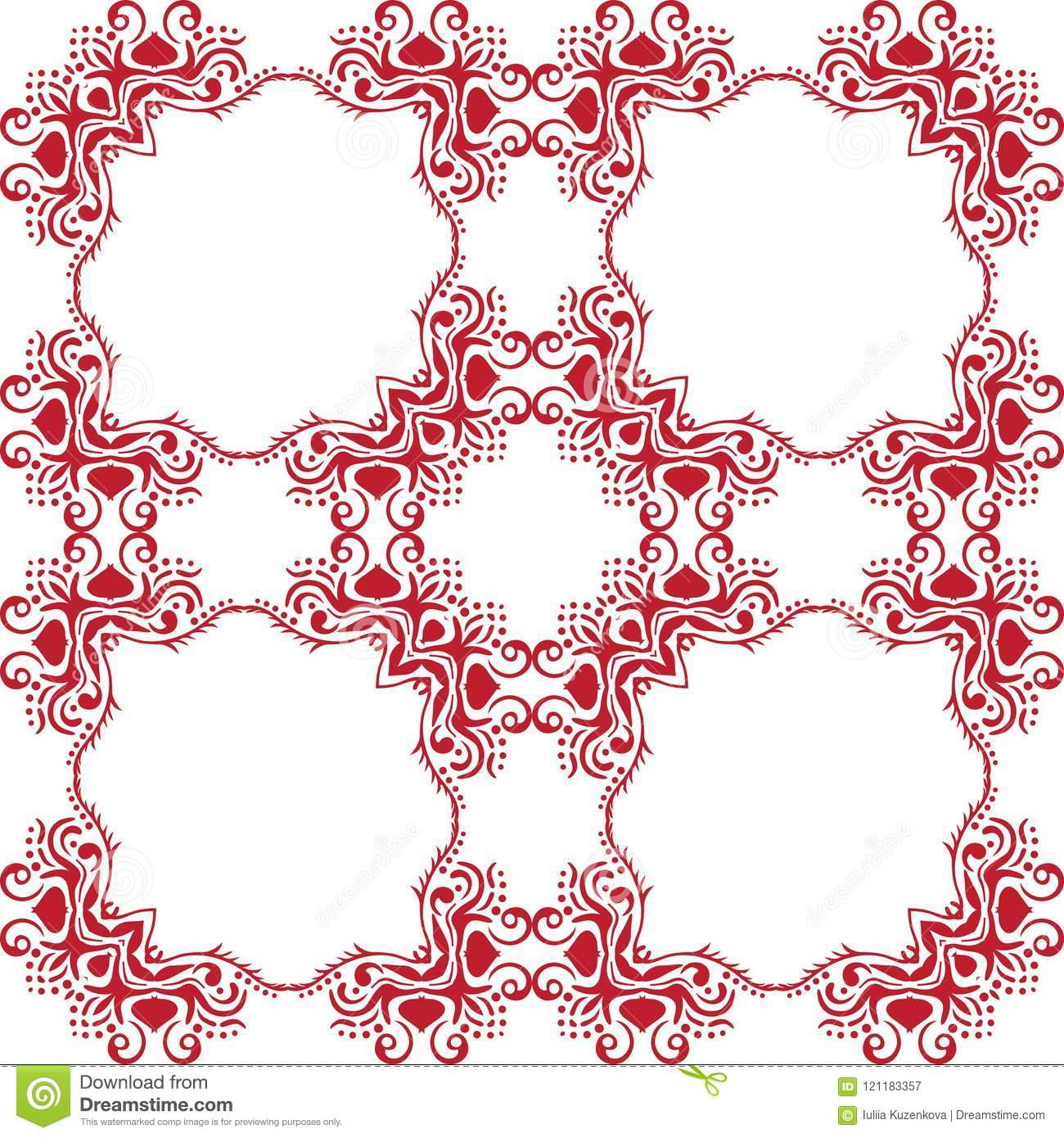 Seamless abstract floral pattern. White vector background. Geometric leaf ornament. Graphic modern pattern