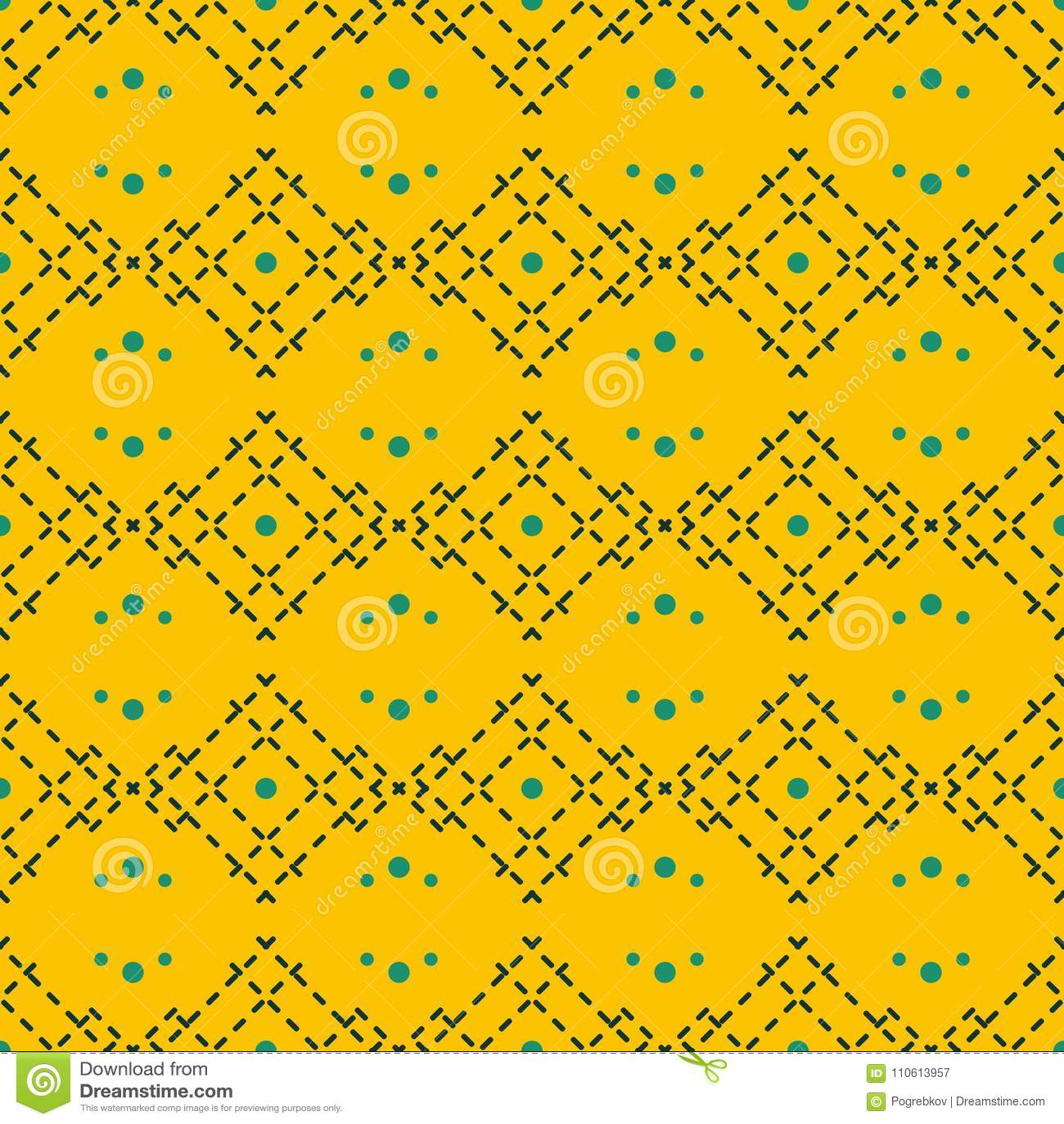Seamless Geometric Pattern In Trendy Mustard Yellow Color Stock