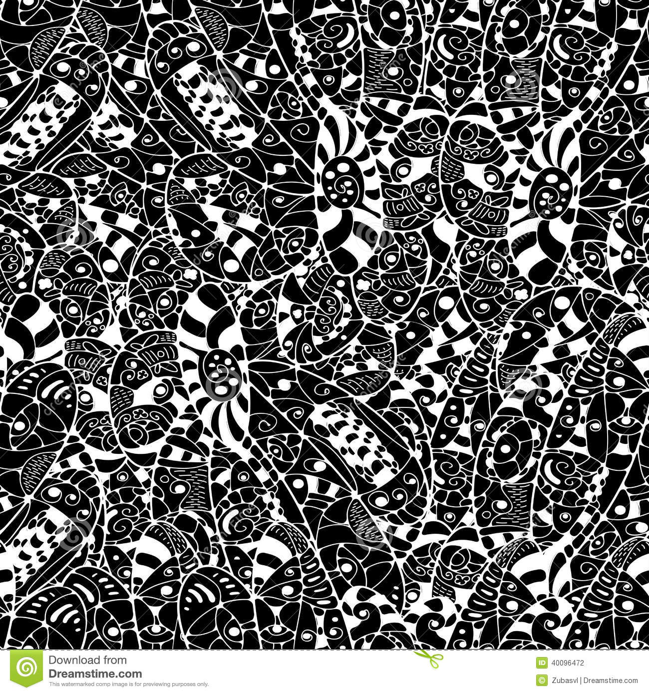 Seamless Abstract Hand-drawn Leaves Pattern. Black And ...