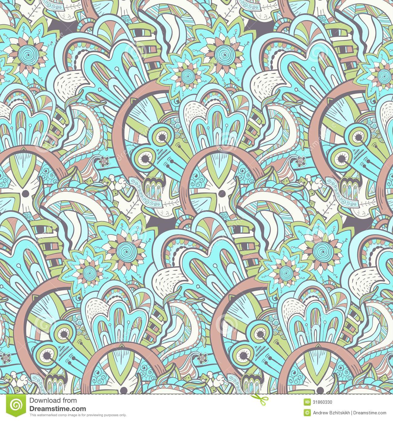Seamless abstract hand-drawn pattern, steampunk background