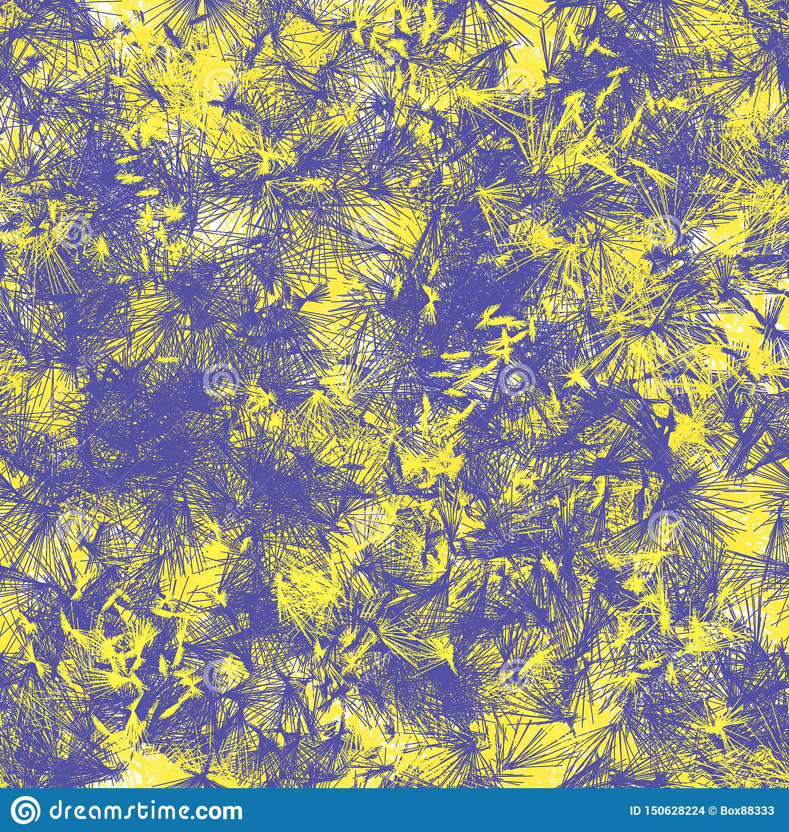 Seamless abstract pattern of colored shapes. Yellow and blue bristle-like lines.