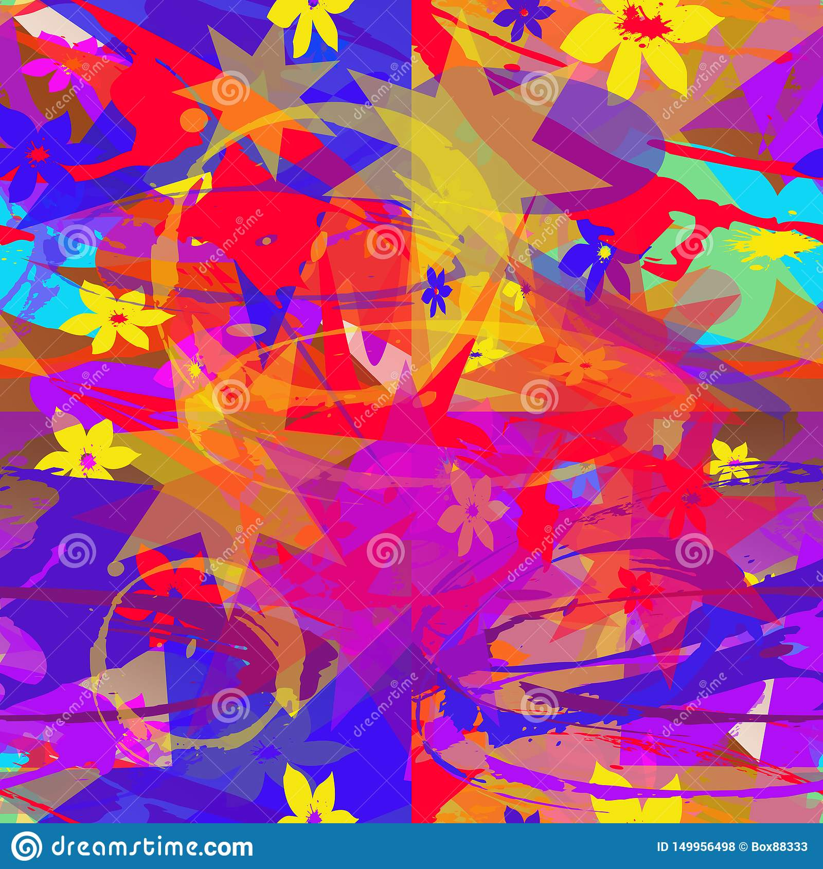Seamless abstract pattern of multicolored elements.