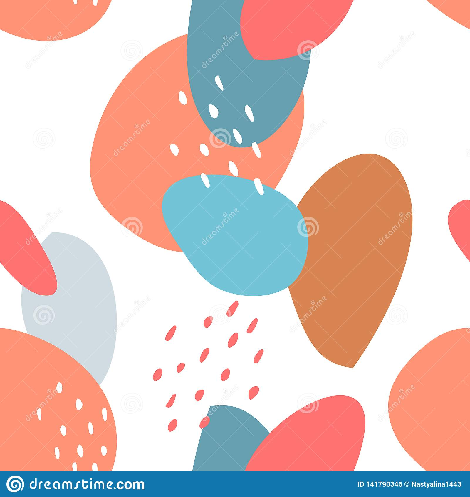 Seamless abstract pattern with spots and dots. Blue, beige, red, turquoise colors. Avan-garde cute cartoon background.