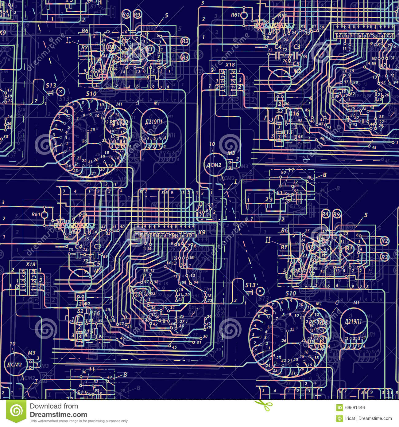 High Tech Circuit Board Vector Background Stock Printed Images Image 7251734 Blue Seamless Pattern Illustration Abstract Futuristic