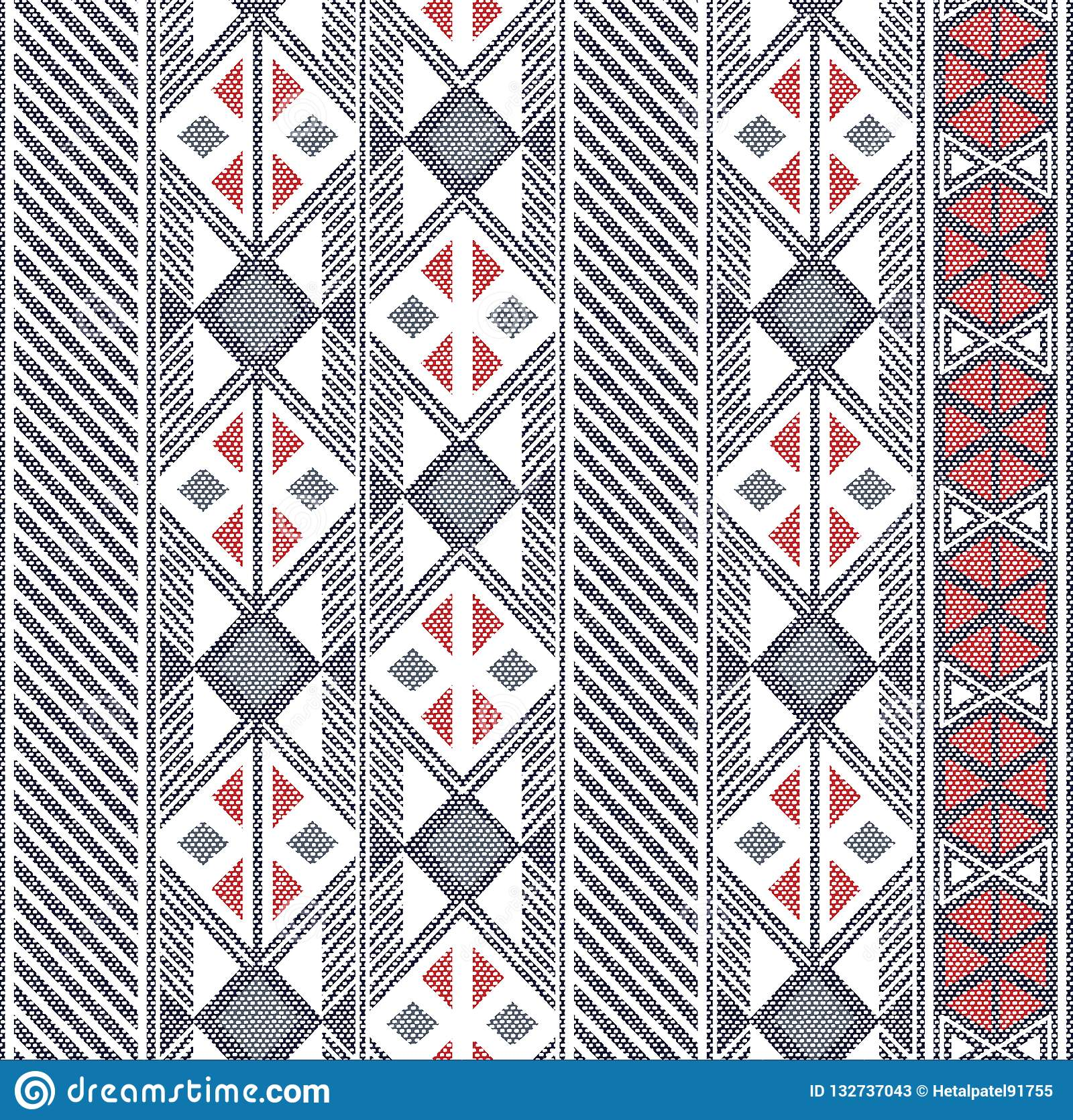 Seamless Abstract shapes pattern in ethnic pattern