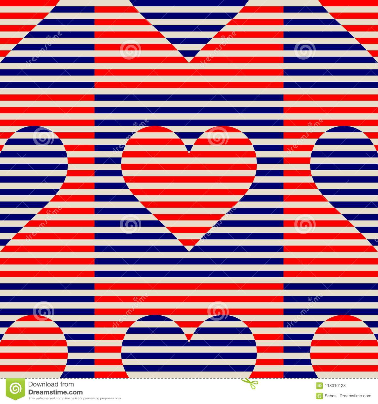 Seamless abstract striped lines vector patterns. Vector fashion backdrop with hearts in vintage op art style