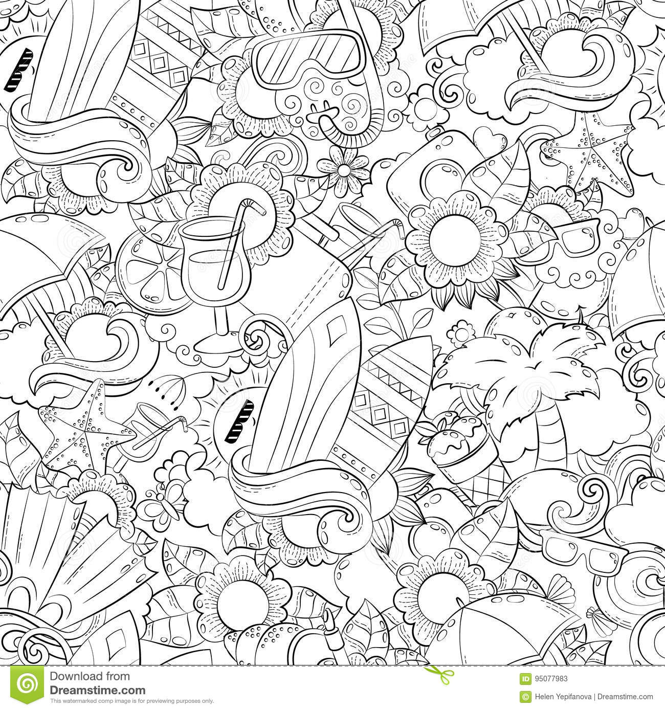 Seamless Abstract Vector Doodle Background, Summer Cartoon Wallpaper ...