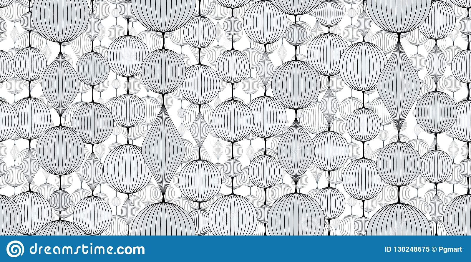 Seamless Abstract Wallpaper Pattern Garlands Of Bulk Balls In Shades Of White Stock Vector Illustration Of Material Application 130248675