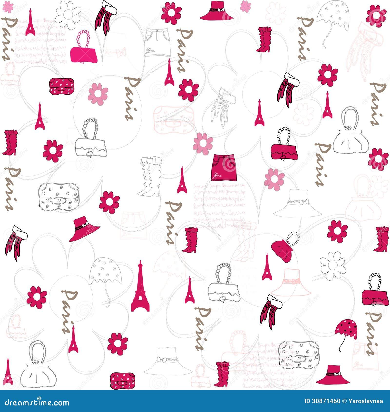 Seamless Accessories Wallpaper Stock Vector Illustration