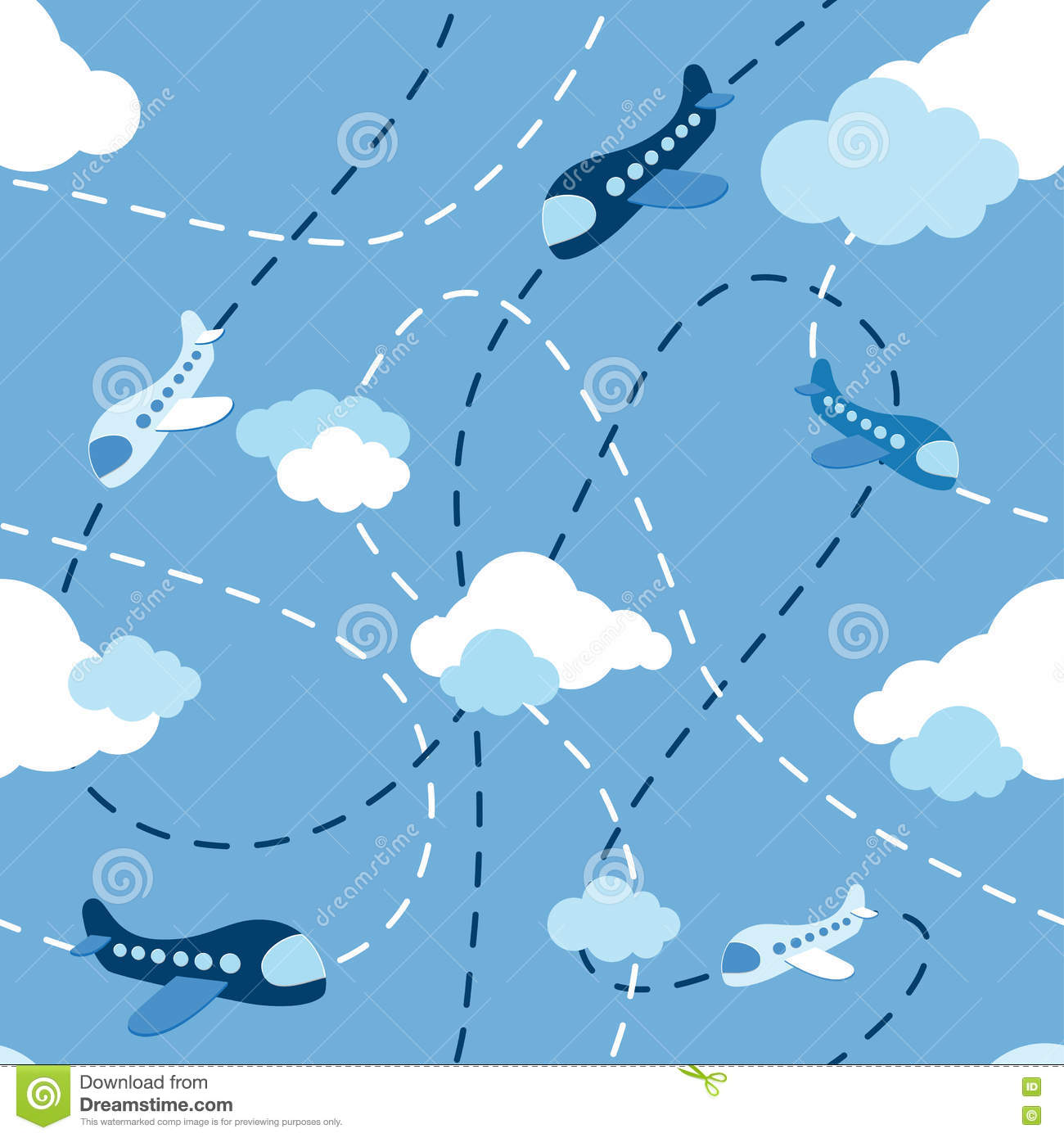 Seamless Airplane Pattern Aircraft In Clouds Cartoons Style On Blue Background Kids Boy Plane Route Flying Machine Sky