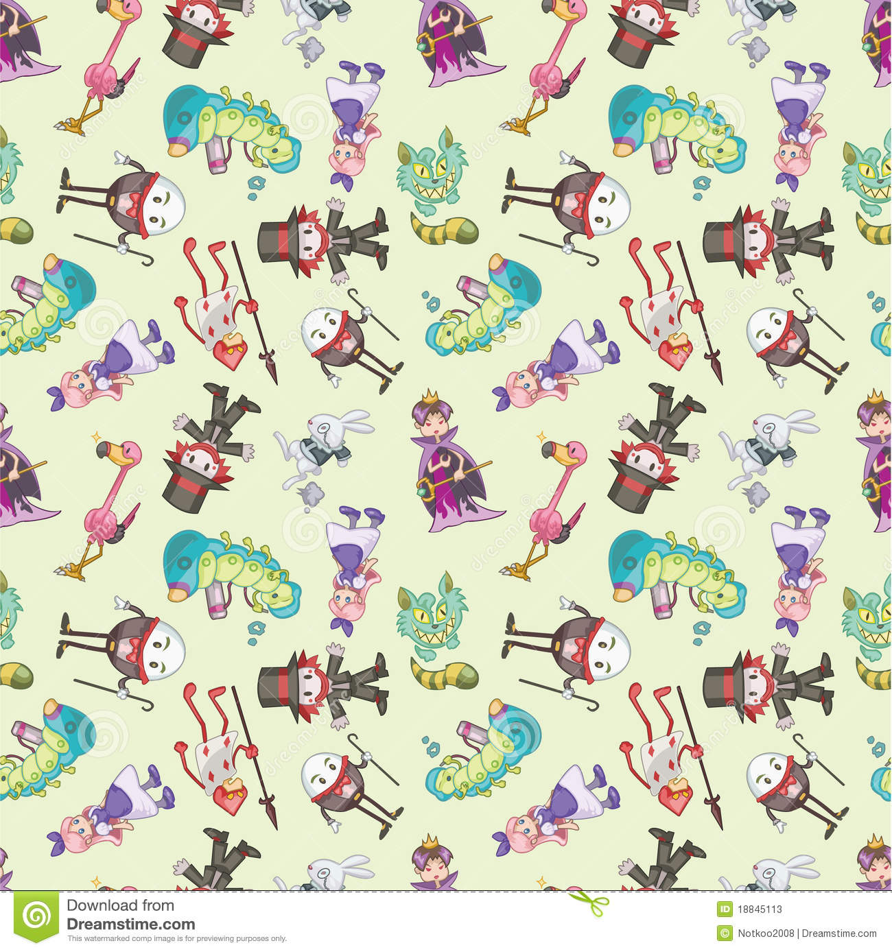 Seamless Alice In Wonderland Pattern Stock Vector Image