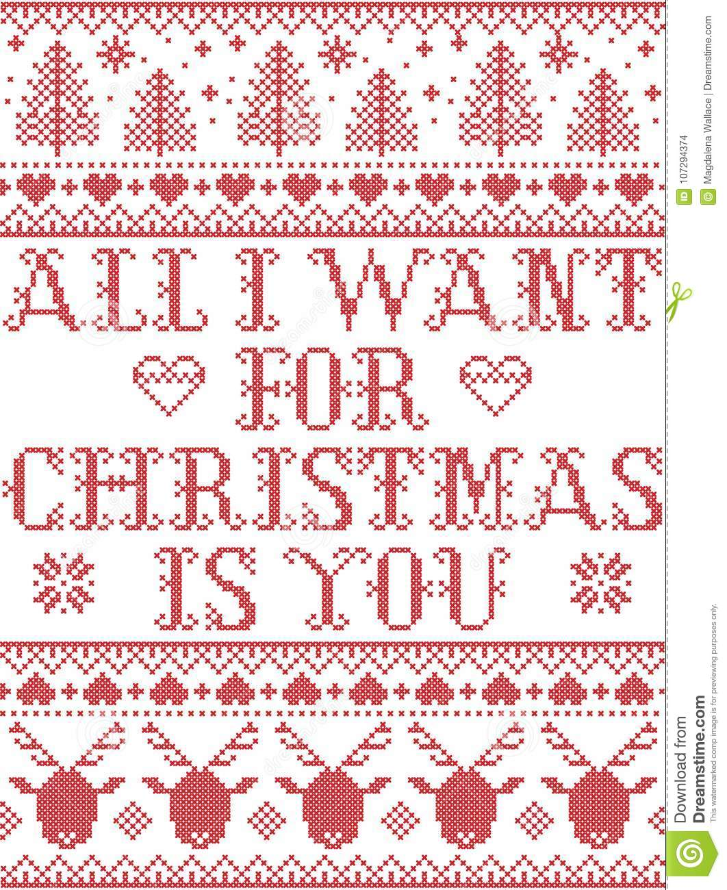 Seamless All I Want For Christmas Is You Scandinavian Style ...