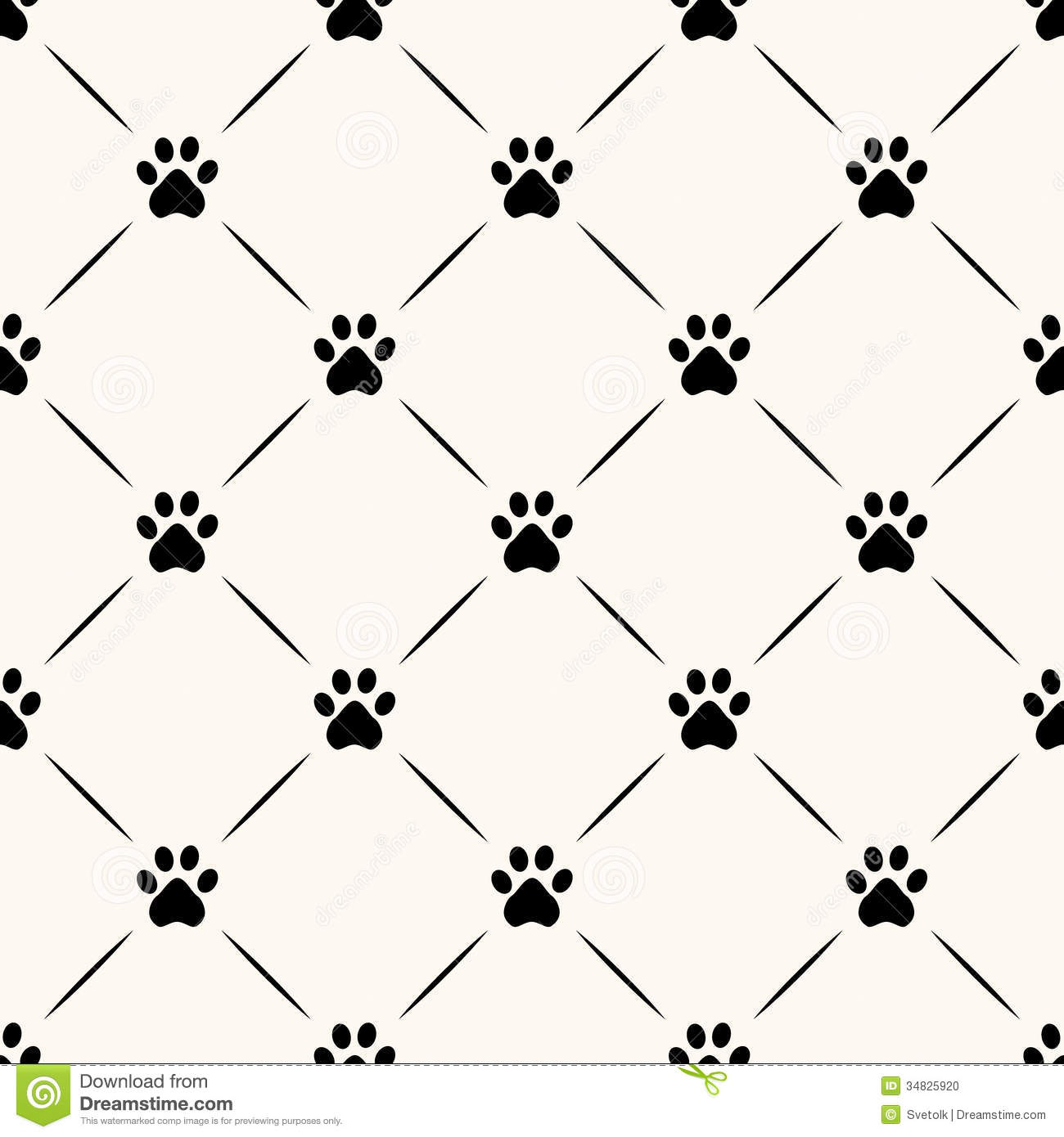 Can I Put Wallpaper On Top Of Wallpaper: Seamless Animal Pattern Of Paw Footprint. Stock Photo